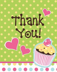 Cupcake Party Thank You Cards