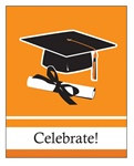 Orange Congrats Grad Invitations