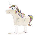 "The My Pet Unicorn Balloon 27"" is a foil mylar balloon and when inflated, measures 27 inches. Includes an attached ribbon leash. One (1) balloon per package. No returns. Do not over inflate."