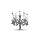 The plastic Cake Candelabra is a great alternative to over populating a birthday cake with individual candles! Styled just like an elegant candelabra, the 9 arms each hold a candle. Measures 4-1/8 inches by 5-1/2 inches. Candles included. No returns.
