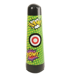 Is that a villain!? Not exactly, but go ahead and treat our Hero Inflatable Punching Bag like one! It has action words and even a bullseye on it for you to practice your lethal tactics to fend off villains. Measures 40 inches tall. Comes one per package.