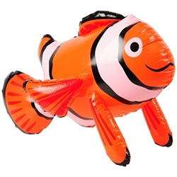 Bring the ocean to your living room or classroom with this Inflatable Clown Fish. When fully inflated, the vinyl decoration measures 25 inches. Yeah, that is pretty big! It's not recommended for children under 3 years old. Comes one per package.
