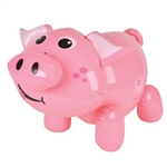 This 24 inch Inflatable Pig is a friendly looking little porker. His pink body sports a round little nose on his smiling face,  and curly little tail. Take care not to over inflate! Each inflatable pig sold individually. Not returnable