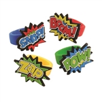 Add some color and pop to your outfit by wearing one or more of our Hero Rubber Rings. These rubber rings are colorful, eye-catching and quite fashionable. Team this ring up with our Hero Dog Tags for an awesome party outfit! 12 assorted rings per package