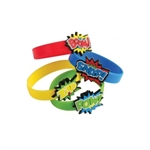 Show off your love for all things superheroes by sporting one of these colorful, action-packed Hero Rubber Bracelets. The bracelets are made of stretchy rubber, which is why they are a one size fits most. Comes 12 per package.