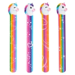 The Unicorn Slap Bracelets measure 9 inches long and 3/4 inch wide. Unicorn Head - approx 1 1/4 inch. Sold in assorted designs. Has a multicolored band with a unicorn head on the end. Contains 12 bracelets per package. One size fits most. No returns.