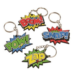 Jazz up a key ring or spruce up your son or daughter's backpack by using one of our Hero Key Chains. They feature a colorful design with an action word in big, eye-catching letters. There are 12 key chains in the package.
