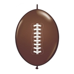 "Football Link Balloon-12"" features a brown latex balloon printed with white lacing. These balloons link easily to one another, great for making balloon arches! Use for sports events or banquets. Sold in quantities of ten. Priced per balloon."