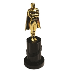 This 9 inch tall plastic trophy features a gold tone caped male figure standing atop a black plastic base. Figure measures 5 inches in height, and the base measures 4 inches high and 3 inches wide. Sold individually.