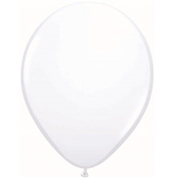Made from latex material, these classically elegant white balloons measure eleven inches when fully inflated and are perfect for any event! Comes twenty five balloons per package.