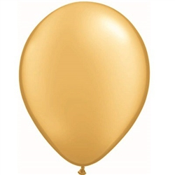 Elegant gold latex balloons that measure 11 inches when fully inflated will complement any themed party. Contains 25 balloons per package so they're perfect to place throughout the event!