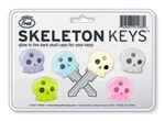 Skeleton Keys are a great accessory to the keys on your keychain. Slide one of these unique, silicone covers over each individual key to make is easy to identify the key you need. Each package contains six glow in the dark silicone key covers.