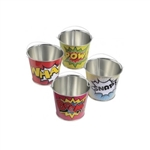 Fill these Hero Mini Buckets with candy and other goodies for the young superheroes to enjoy! Each bucket measures 2.75 inches tall and is made of metal. These Hero Mini Buckets aren't recommended for children under three years of age.
