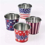 Assorted Mini Metal Patriotic Buckets (1/pkg)