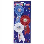 1st, 2nd, and 3rd Place Rosette Award Pack (3 Ribbons/Pkg)