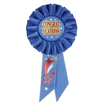 "This award ribbon is made from brilliant blue fabric and features ""congratulations"" in the center of the ribbon. Star graphics dot the ribbon and add to awesomeness of this item."