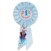 Blue My 1st Birthday Rosette Ribbon