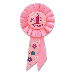 Pink My 1st Birthday Rosette Ribbon