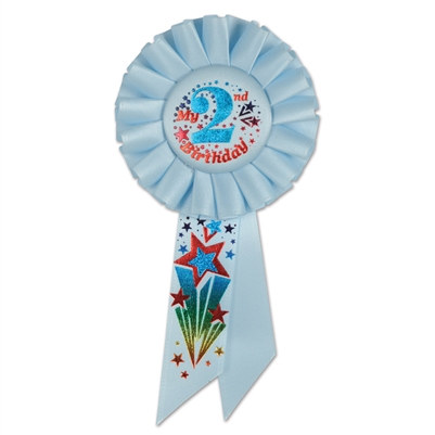 Blue My 2nd Birthday Rosette Ribbon