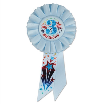 Blue My 3rd Birthday Rosette Ribbon