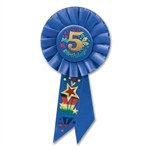 Blue My 5th Birthday Rosette Ribbon