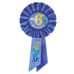 Blue My 6th Birthday Rosette Ribbon