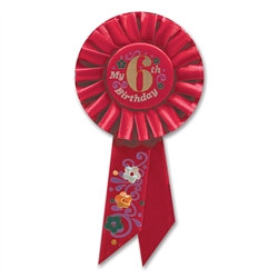 Red My 6th Birthday Rosette Ribbon