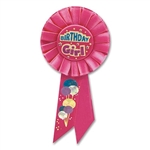 Birthday Girl Rosette Ribbon with Balloons