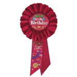 Red It's My Birthday Rosette Ribbon