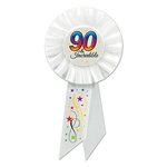 Everyone is sure to know who the birthday party is for when the guest of honor is wearing this classy and unique 90 & Incredible pin-on Rosette Ribbon.