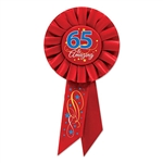 Is someone you know 65 years young? Is he/she amazing?Then let them know with this '65 & Amazing' Rosette Ribbon. The high quality ribbon is an elegant red color with some blue, silver and gold on it.