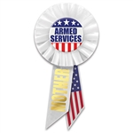 "Be proud of your service in defense of our country .  Wear this classically patriotic ""Armed Services"" rosette with pride.