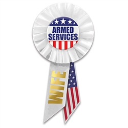 "Be proud of your husband's service in defense of our country . Wear this classically patriotic ""Armed Services Wife"" rosette with pride. Pins measure 1.75 inches in diameter, rosette is 3 inches in diameter, ribbons are 3.5 inches long. 1 per package."