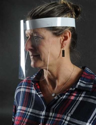 "Made in USA with Transparent Light Weight Plastic Safety Visor and Comfortable Adjustable Head Band, 8.25"" x 10"", Clear/White. Made in the USA.  Includes 50 clear face shields in the box."