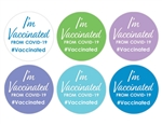 "Reward vaccination drive participants with these fun and colorful ""I'm Vaccinated"" stickers. A great way for participants to show their pride and commitment to beating the pandemic.