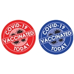 "Reward vaccination drive participants with these fun and colorful ""Vaccinated Today"" stickers. A great way for participants to show their pride and commitment to beating the pandemic.
