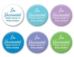 "Reward vaccination drive participants with these fun and colorful ""I'm Vaccinated"" buttons. A great way for participants to show their pride and commitment to beating the pandemic."