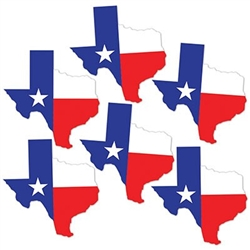 The Texas Mini Cutouts are made of cardstock and measure 5 1/4 inches tall and 4 3/4 inches wide. Contains 6 pieces per package.