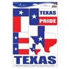 The Texas Pride Peel 'N Place comes (1) sheet per package. Each sheet has 7 stickers. They are easy to use, removable, and adhere to most smooth surfaces.