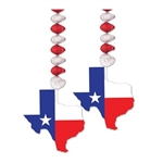 The Texas Danglers measure 30 inches long with a 5 1/2 inch wide Texas cutout attached. It consists of red and silver foil dangler and a cutout of the state printed with the Texas flag. Contains two danglers per package. Indoor/Outdoor Use.