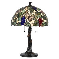 CAL Lighting Tiffany Table Lamp w/ Pull-Chains- Dark Bronze