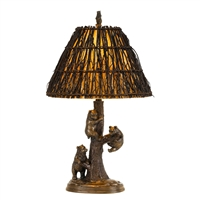 Cal Lighting Bear Cubs Resin Table Lamp w/ Twig Shade- Cast Bronze
