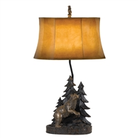 CAL Lighting Bear Resin Table Lamp w/ Leathrette Shade- Antique Bronze