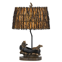 CAL Lighting Bear in Canoe Resin Table Lamp w/ Leathrette Shade