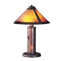 CAL Lighting Table Lamp w/ 7W Night Light & Mica Shade- Rust
