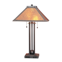 CAL Lighting Metal table Lamp & Mica Shade- Matte Black