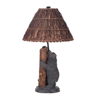 CAL Lighting Bear & Bee Resin Table Lamp w/ Twig Shade- Antique Bronze