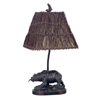 CAL Lighting Resin Bear Accent Lamp w/ Wicker Shade- Antique Bronze