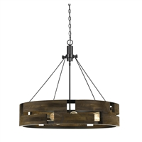 CAL Lighting Bradford 9 Light Metal & Wood Chandelier- Smoky Wood