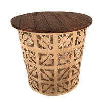 Eangee Home Design Outdoor Metal Drum Table Series- B